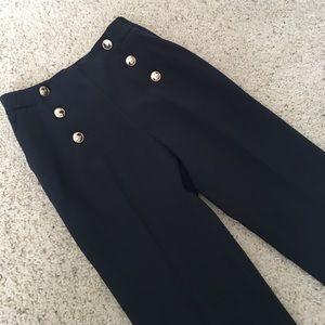 H&M High Waist Navy Trousers US 2